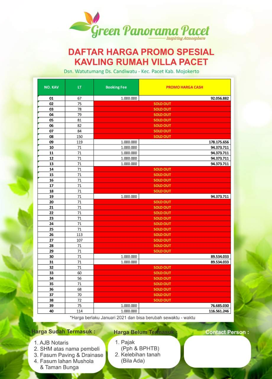 Pricelist Green Panorama Pacet